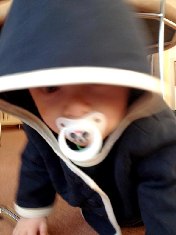 Babyjacke Burda Style getragen Kapuze