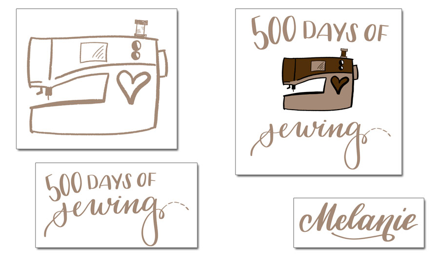 Logo 500 days of sewing